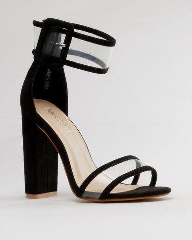 777ae324b4f868 Public Desire Mission Black Clear Strap Block Heeled Sandals Black