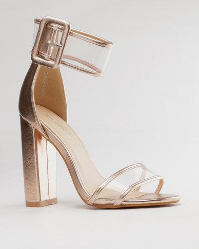ca976ebb79ec Public Desire Misson Perspex Detail Heel Rose Gold Metallic