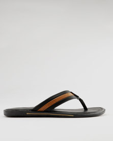Anton Fabi Barca Toe Thong Sandals Black/Beige