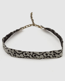 Lacey Luck Animal Print Choker Black and White