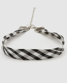 Lacey Luck Checkered Choker with Sparkle Black and White