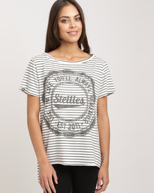 Stellies Slouchy Supremacy Tee Cream & Charcoal