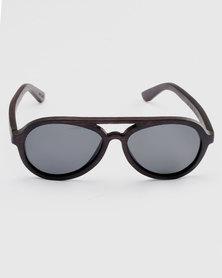 075652808c9 Thisguy. Ebony Bomber Wood Polarized Sunnies Black
