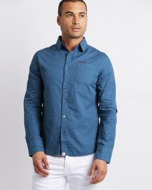 Soviet Mens Dorian Long Sleeve Shirt Blue
