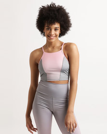 Azmi Wear Ombre Active Crop Top Pink
