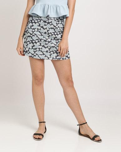 Peg Gemma Mini Skirt Denim Heart Blue