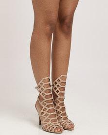 Vizzano Lasered Heel Sandal Beige