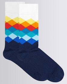 Happy Socks Faded Diamond Sock Multi Colour