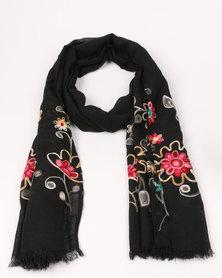 UB Creative Flower Embroidery Scarf Black