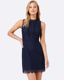 Forever New Stacey Lace Panel Dress Navy