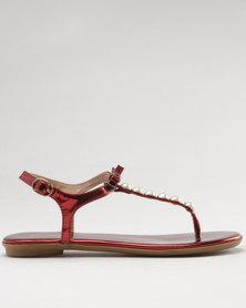 Bata Ladies Flat Sandals Red