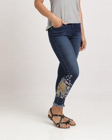 Sissy Boy Tiger Embroidery Skinny Jeans Dark Vintage