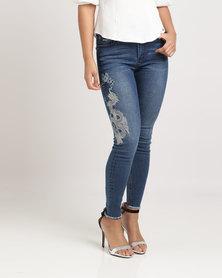 Sissy Boy Embroidery Skinny Jeans Dark Vintage