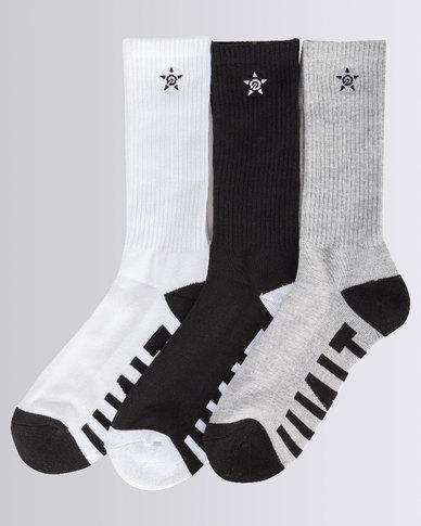 aeb84ee43 UNIT Mens Hilux 3 Pack Socks Multi