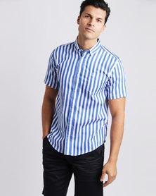 JCrew Stripe Short Sleeve Shirt Cobalt & White