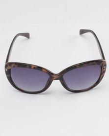 Queenspark Animal Print Cats Eye Sunglasses Brown