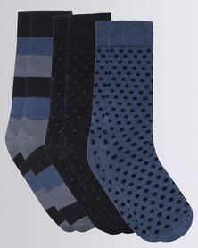 JCrew 3 Pack Assorted Socks Blue