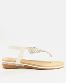 Queenspark Diamante and Pearl Sandals White