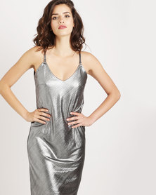 Cath Nic By Queenspark Racer Back Shimmer Woven Dress Silver