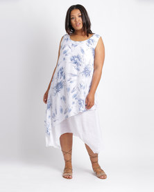 Queenspark Plus Leaf Printed Ghost Layered Woven Dress White