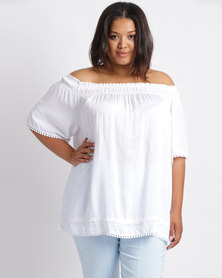 Queenspark Plus Pom Pom Belinda Woven Blouse White