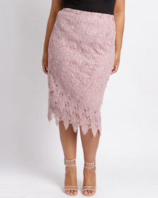 Queenspark Plus Feather Lace Pencil Woven Skirt Pink