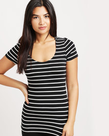 Betty Basics Scoop Stripe Tee Black & White