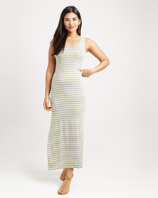 Betty Basics Byron Maxi Stripe Dress Lemon & Grey