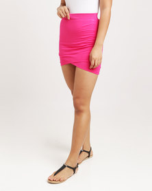 Betty Basics Madrid Stripe Wrap Skirt Pink
