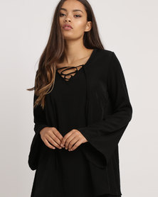 Blu Spiral Bell Sleeve Top Black