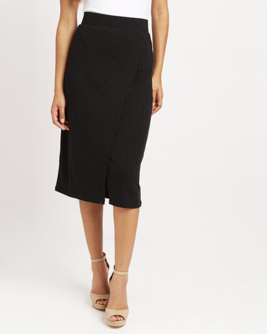 Blu Spiral Fold Over Pencil Skirt Black