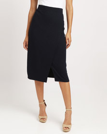 Blu Spiral Fold Over Pencil Skirt Navy