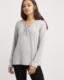 Blu Spiral Lace Up Hoodie Grey