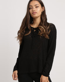 Blu Spiral Lace Up Hoodie Black