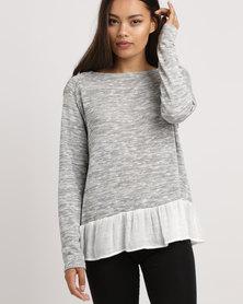 Blu Spiral Raglan Jersey with Voile Hem Grey