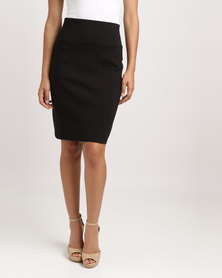 Blu Spiral High Waisted Stretch Skirt Black