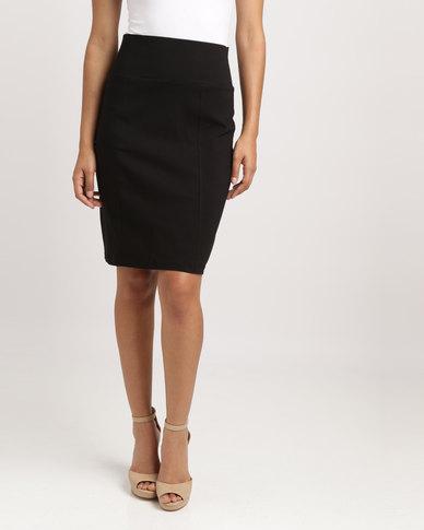 Blu Spiral High Waisted Stretch Skirt Black