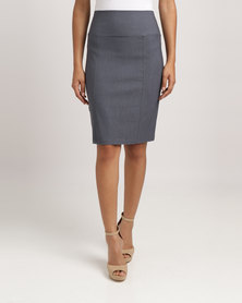 Blu Spiral High Waisted Stretch Skirt Charcoal