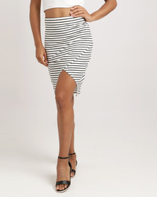 Silent Theory Mock Wrap Stripe Skirt Black/White