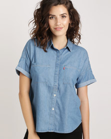 Levi's ® Short Sleeve Holly Shirt Dark Mid Wash