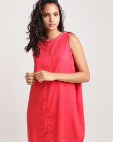 Glamzza Back Bow Silk Mini Dress Red