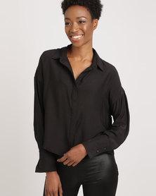 Glamzza Slim Cropped Blouse Shirt Black