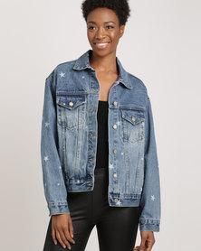 Glamzza Stars Oversized Denim Jacket Blue