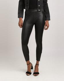 Glamzza Zipper Faux Leather Leggings Black