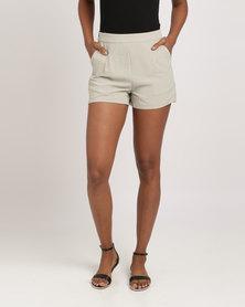Glamzza Camilla High Waisted Shorts Green