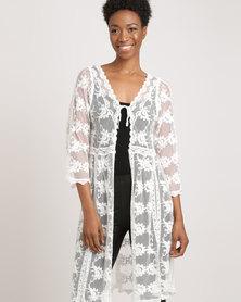 Glamzza Long Sleeve Lace Jacket White