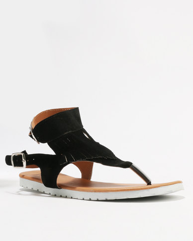 Ladies Buckle Fringed Black Double Thong Utopia Sandals ZuTlkOXwPi