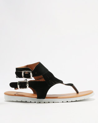 1862fc89a Utopia Ladies Fringed Double Buckle Thong Sandals Black