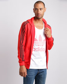 adidas CLFN French Terry Full Zip Sweatshirt Red