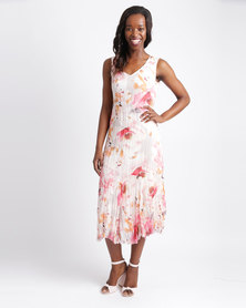 Queenspark Woven Crinkle Casual Sleeveless Dress Pink